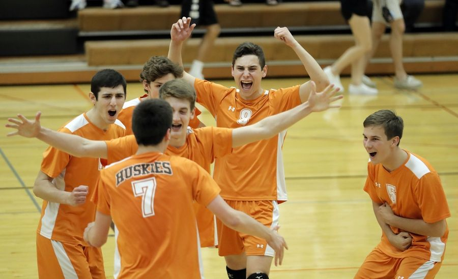 Hersey players celebrate after beating Barrington Wednesday in Arlington Heights.