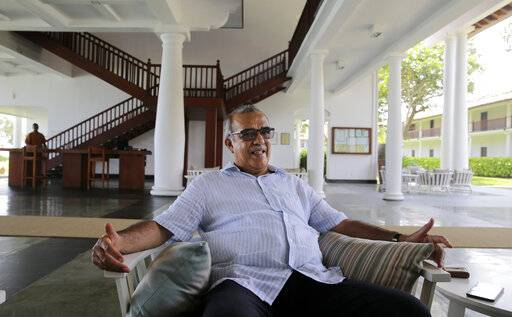 "In this Friday, May 10, 2019, photo, Jan Van Twest, the general manager of Fortress Resort and Spa, speaks to The Associated Press in Galle, Sri Lanka. ""In the past we have had about many serious crises and we have recovered. I am quite positive we can do it again,� Twest said. According to the government's tourism agency, the tourist arrival has shown a 80 percent decrease after the attack."