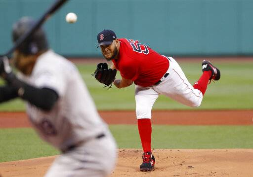 Boston Red Sox starting pitcher Eduardo Rodriguez delivers against the Colorado Rockies during the first inning of a baseball game Wednesday, May 15, 2019, at Fenway Park in Boston.
