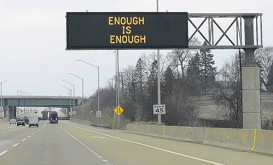 A tollway sign on I-90 in April expressed the frustration many Illinoisans felt after another Illinois state trooper was killed this year by a crash while stopped at the side of the highway.
