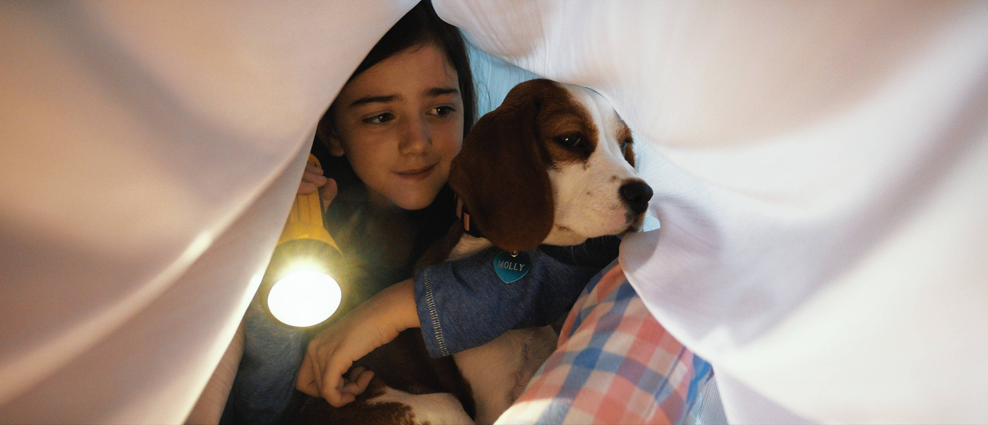 "Young CJ (Abby Ryder Fortson) gets love and protection from her four-legged friend (voiced by Josh Gad) in ""A Dog's Journey."""