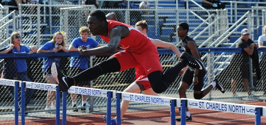 Mario Hallom of South Elgin High School claims first in the 110 meter hurdles heat 3 at the 2019 IHSA Boys Sectional at St. Charles North High School on Thursday.