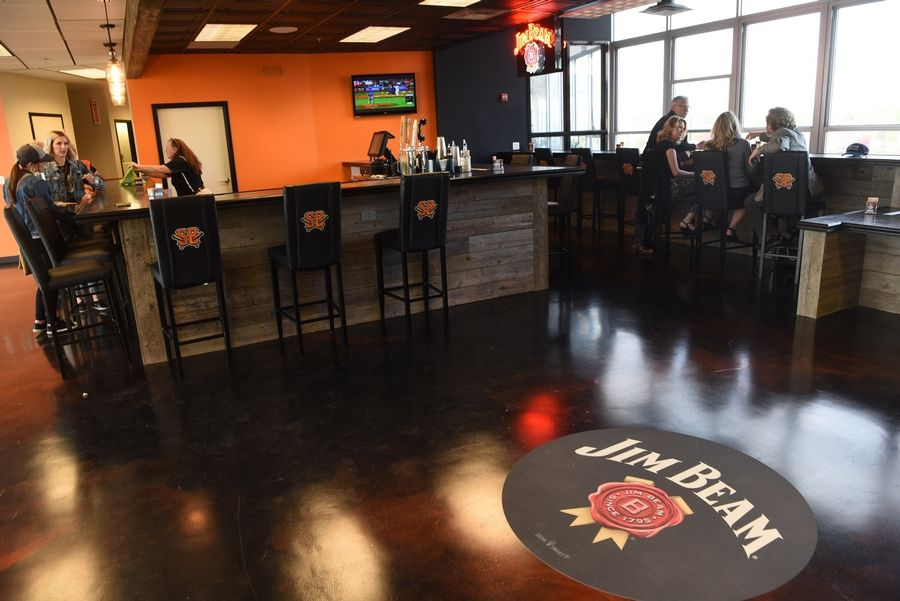 The Jim Beam Club in the former press box of Schaumburg Boomers Stadium on Tuesday, which was opening night for the team's 2019 season.