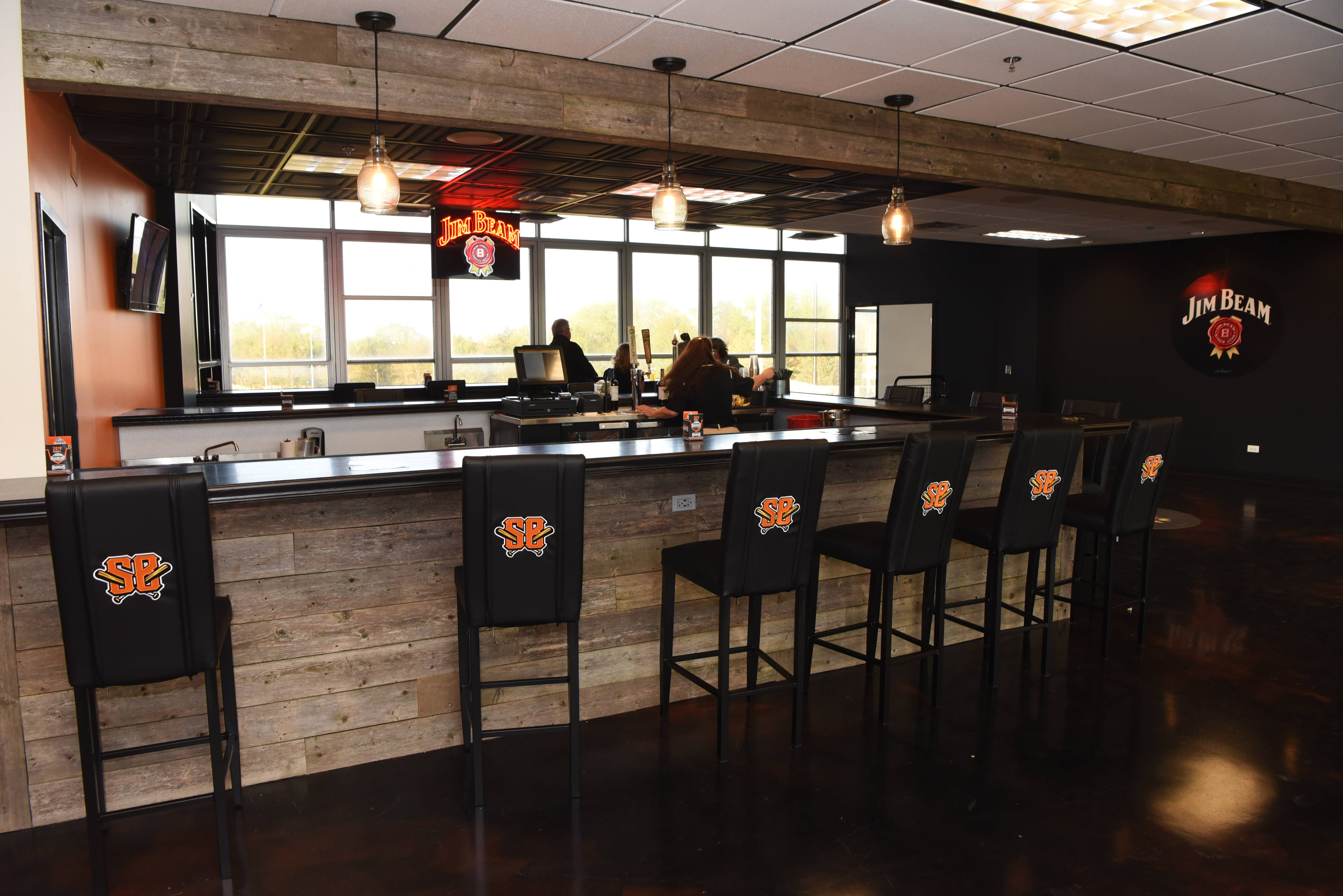 The Jim Beam Club in the former press box of Schaumburg Boomers Stadium on Tuesday, opening night of the team's 2019 season Tuesday.
