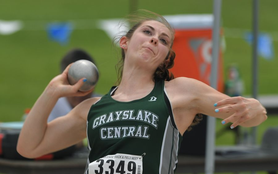 Grayslake Central's Julia Reglewski competes in shot put during the Class 3A girls state track and field preliminaries in Charleston Friday.