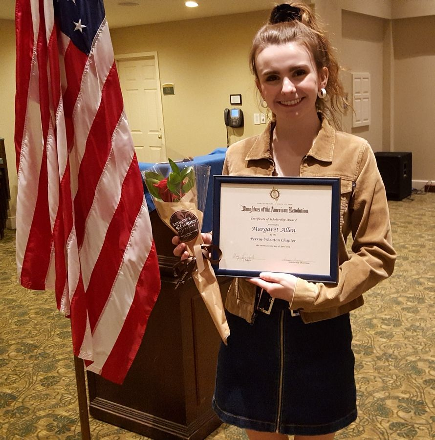 Margaret Allen, a senior at Wheaton North High School, won a scholarship from the Perrin-Wheaton chapter of the Daughters of the American Revolution.