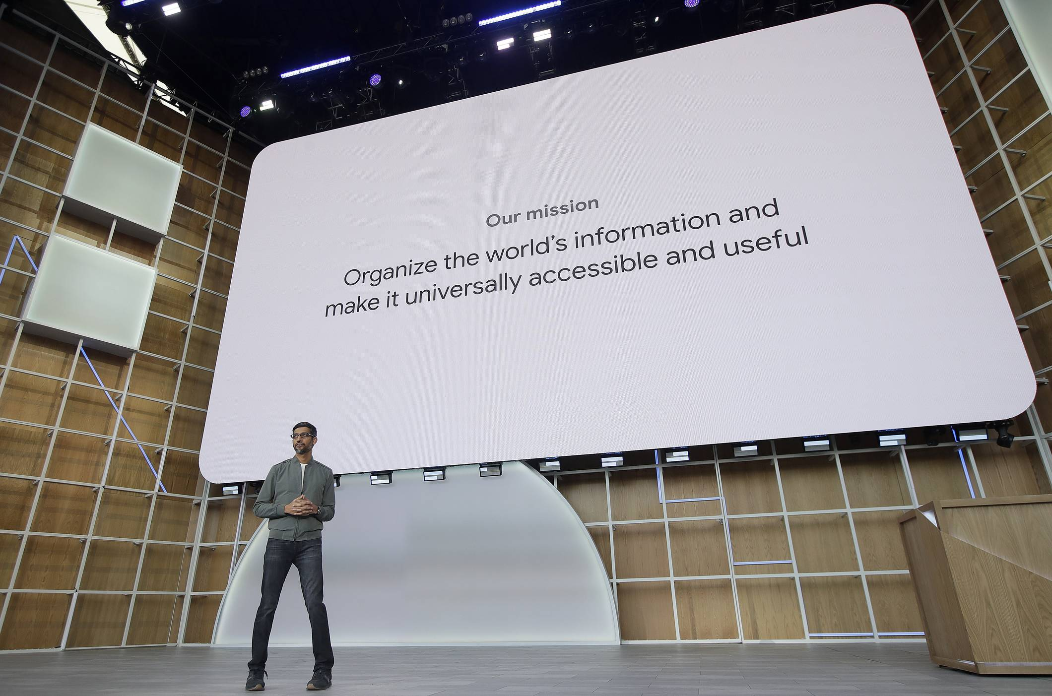 Google CEO Sundar Pichai speaks during the keynote address of the Google I/O conference in Mountain View, Calif., Tuesday, May 7, 2019.