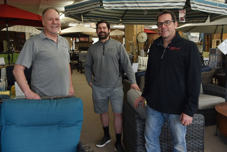 Left to right, owner Dan Mayer, his son Shane Mayer and nephew Scott Selleck at Northwest Metalcraft in Arlington Heights.