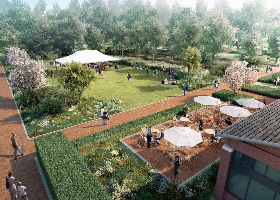 A new dining patio and event lawn will cater to lunch diners and banquet crowds east of the Visitors Center, this rendering shows.