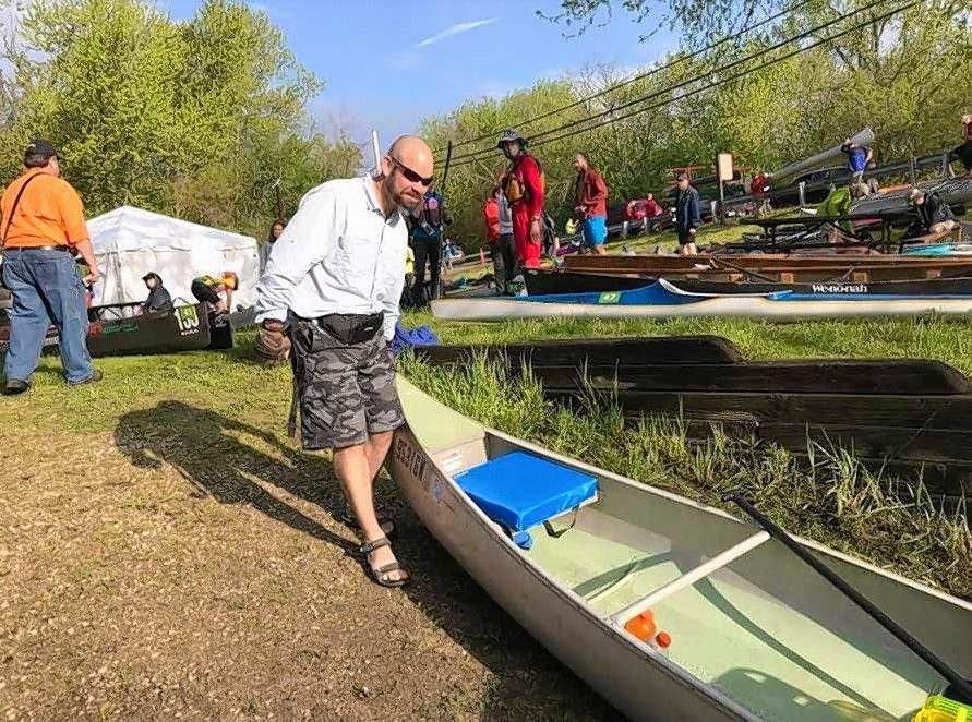 Brian Ribordy of Lake Zurich prepares for the start of the 62nd annual Des Plaines River Canoe & Kayak Marathon on Sunday. Paddlers took an 18.5-mile course from Libertyville to Mount Prospect.