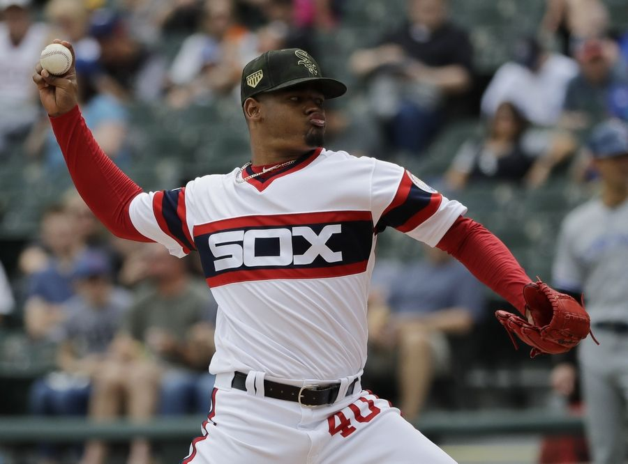 Chicago White Sox starting pitcher Reynaldo Lopez throws against the Toronto Blue Jays during the first inning of a baseball game in Chicago, Sunday, May 19, 2019.