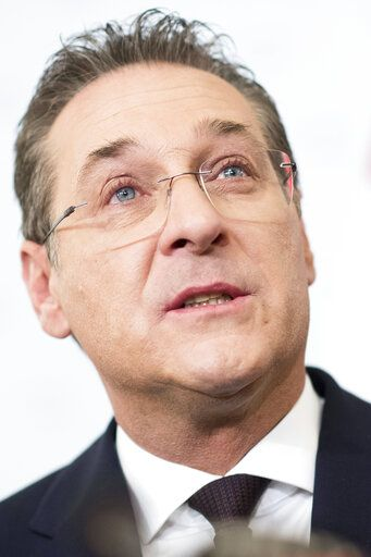 Austrian Vice Chancellor Heinz-Christian Strache (Austrian Freedom Party) addresses the media during press conference at the sport ministry in Vienna, Austria, Saturday, May 18, 2019. Strache says he is resigning after two German newspapers published footage of him apparently offering lucrative government contracts to a potential Russian benefactor.