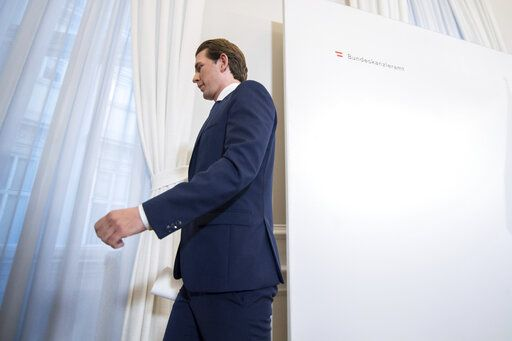 Austrian Chancellor Sebastian Kurz (Austrian People's Party) leaves after a press conference at the Federal Chancellors Office in Vienna, Austria, Saturday, May 18, 2019. Kurz has called for an early election after the resignation of his vice chancellor spelled an end to his governing coalition.