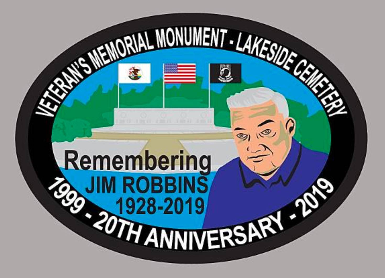 Scouts groups that help place American flags on the graves of veterans at Lakeside Cemetery in Libertyville will receive this patch honoring Jim Robbins, who helped lead the effort to create the Veterans Memorial Monument.