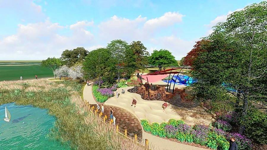 A ceremonial groundbreaking will take place Wednesday on a roughly 2-acre community plaza in the Frontier Sports Complex. Naperville Park District plans to build a versatile open space with play areas, a fitness lawn and space for events such as concerts, stage productions or farmers markets.