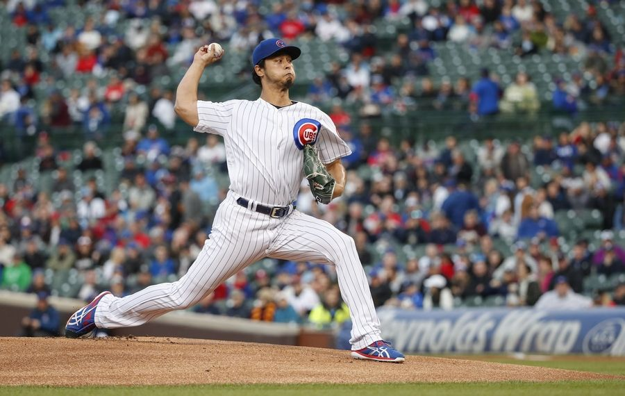Chicago Cubs starting pitcher Yu Darvish delivers against the Philadelphia Phillies during the first inning of a baseball game, Monday, May 20, 2019, in Chicago.