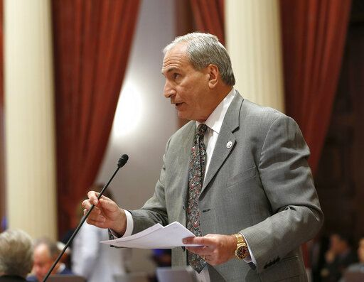 State Sen. Jeff Stone, R-Temecula, addresses the state Senate, Monday, May 20, 2019, in Sacramento, Calif. Stone is among those Republicans opposing proposals by Gov. Gavin Newsom and Sen. Maria Elena Durazo, D-Los Angeles, to expand California's Medicaid program, known as Medi-Cal to undocumented immigrants. If approved, Newsom's plan would offer government-funded health care benefits to immigrant adults ages 19 to 25 who are living in the country illegally. Durazo has proposed a bill to expand that further to include seniors age 65 and older