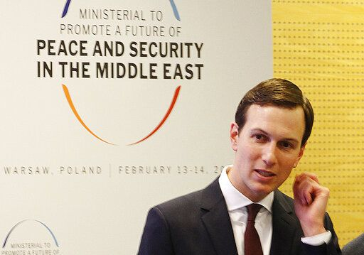 FILE - In this Feb. 14, 2019, file photo, White House Senior Adviser Jared Kushner attends a conference on Peace and Security in the Middle East in Warsaw, Poland. The Trump administration will unveil the first phase of its long-awaited blueprint for Mideast peace next month at a conference in the region designed to highlight economic benefits that could be reaped if the Israeli-Palestinian conflict is resolved, the White House said Sunday, May 19.