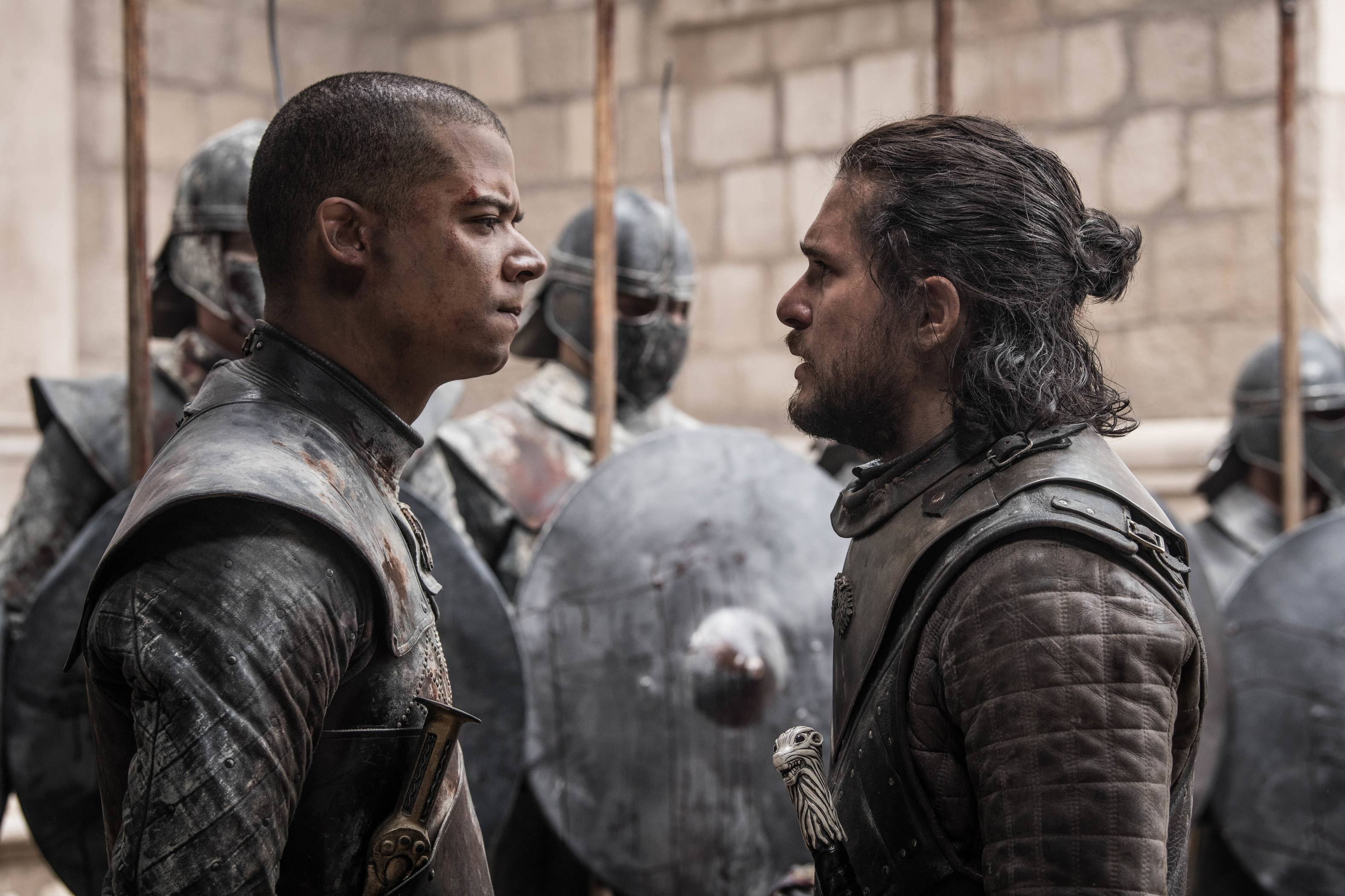 "Jon Snow (Kit Harington), right, confronts Grey Worm (Jacob Anderson) on the series finale of HBO's ""Game of Thrones."""