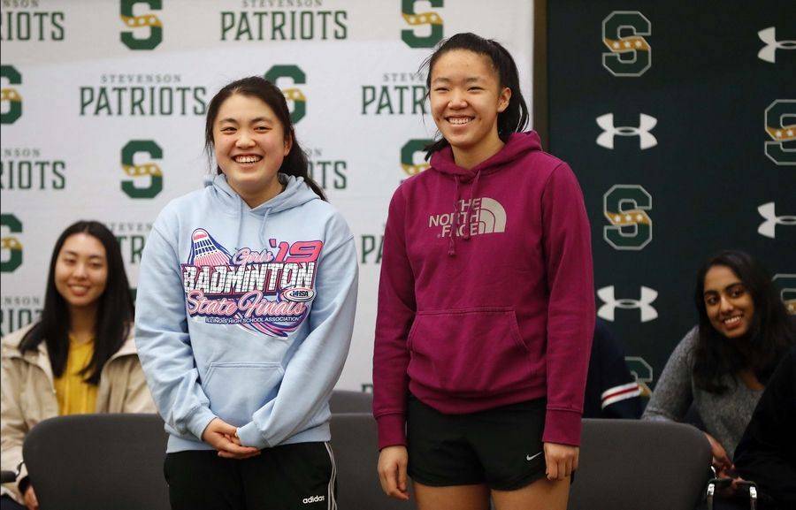 Stevenson High School honored state-title winning athletes from two sports on Tuesday. The girls water polo team won its third consecutive state championship, while Jenny Yang, left and Emily Hu are state badminton doubles champions.