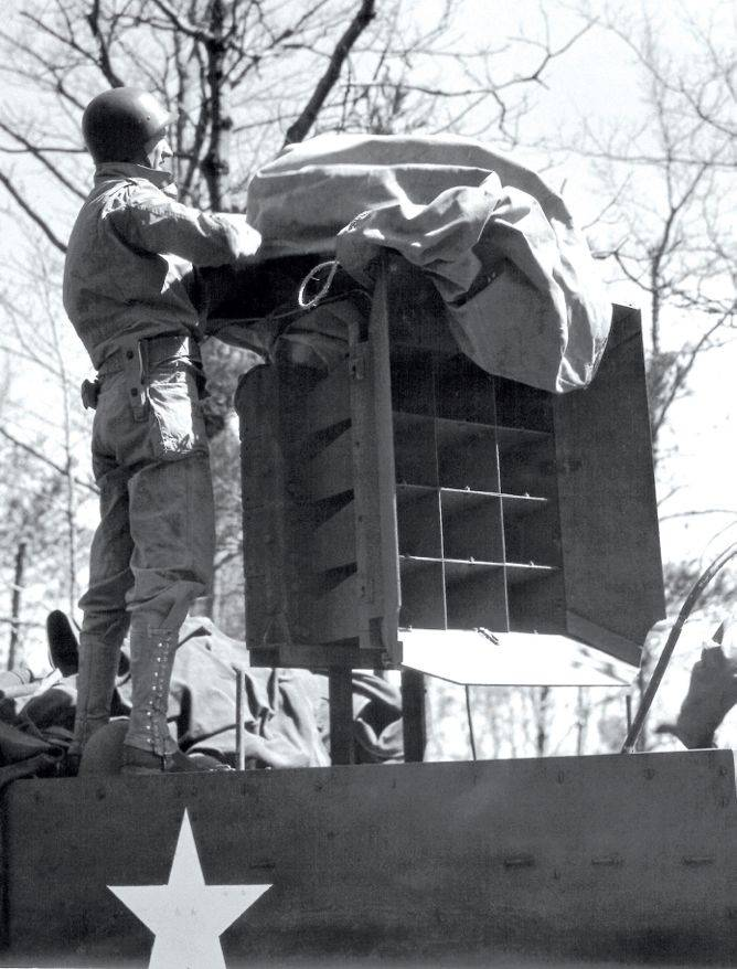 Members of the Ghost Army, in which Bernie Bluestein served, recorded sounds of armored tanks and infantry units and played these fake soundtracks with powerful amplifiers and speakers mounted on halftrack jeeps, that could be heard up to 15 miles away.