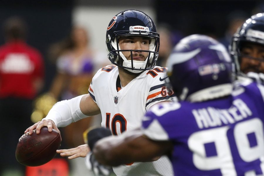 Chicago Bears quarterback Mitchell Trubisky looks to throw a pass during the first half of an NFL football game against the Minnesota Vikings, Sunday, Dec. 30, 2018, in Minneapolis.