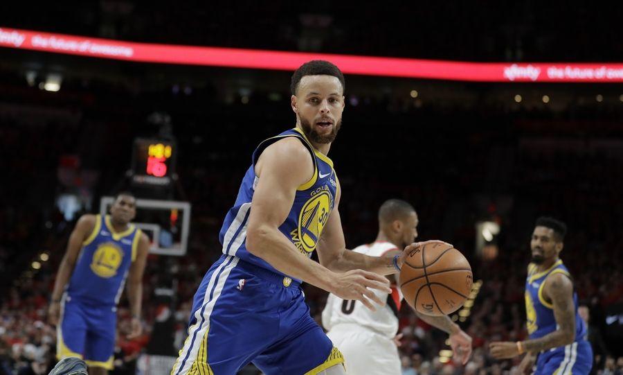 2ca0397bacb Warriors beat Blazers 119-117 in OT for NBA Finals berth