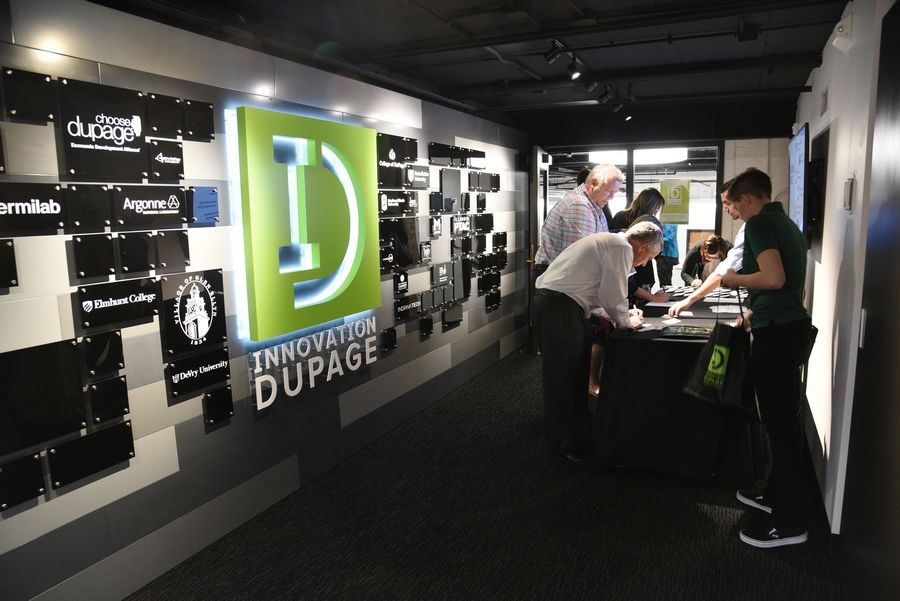 The new headquarters of Innovation DuPage -- part business accelerator, part incubator, part coworking spaces -- hosted an opening celebration Wednesday. The College of DuPage center is in renovated portions of the Glen Ellyn Civic Center at 535 Duane St.
