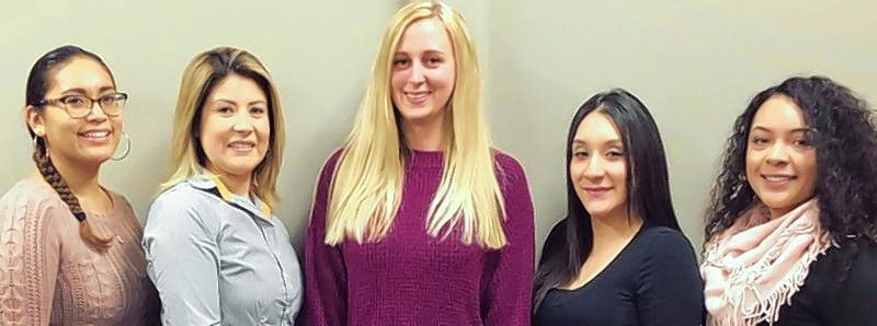 The CCU Contact Center team includes, from left, Elizabeth Zamarron, Contact Center assistant manager; Terry Gomez, Contact Center optimization manager; Heather Direnzo, Contact Center director; Rosario Olalde, Contact Center assistant manager; and, Adriana Guillen, Contact Center assistant manager.