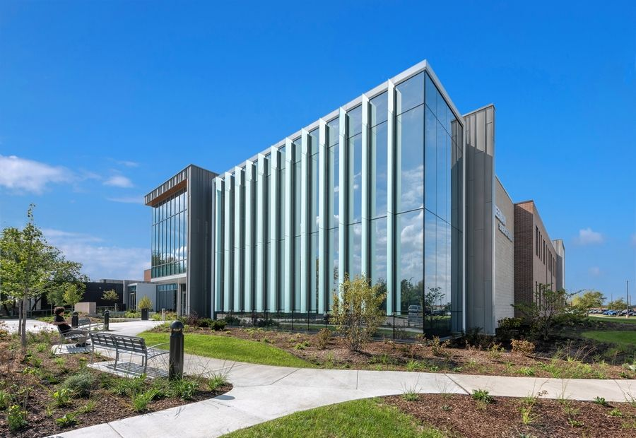 McHenry County College received LEED gold status certification for its Liebman Science Center. The building's sustainable features include: a bicycle rack to encourage bike riders coming to campus; dedicated parking spaces for low-emitting vehicles; charging station for electric vehicles; and 100% LED lighting throughout the facility.