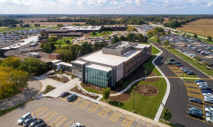McHenry County College's Liebman Science Center has earned LEED gold status certification for its green construction. The building's sustainable features include: a bicycle rack to encourage bike riders coming to campus; dedicated parking spaces for low-emitting vehicles; charging station for electric vehicles; and 100% LED lighting throughout the facility. Also, 75% of the construction waste generated during construction has been recycled or salvaged.