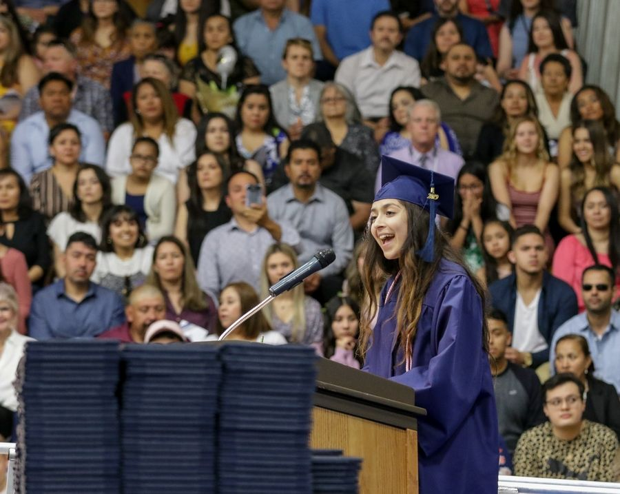 Gabriella Bonilla gives the commencement speech at Addison Trail High School.