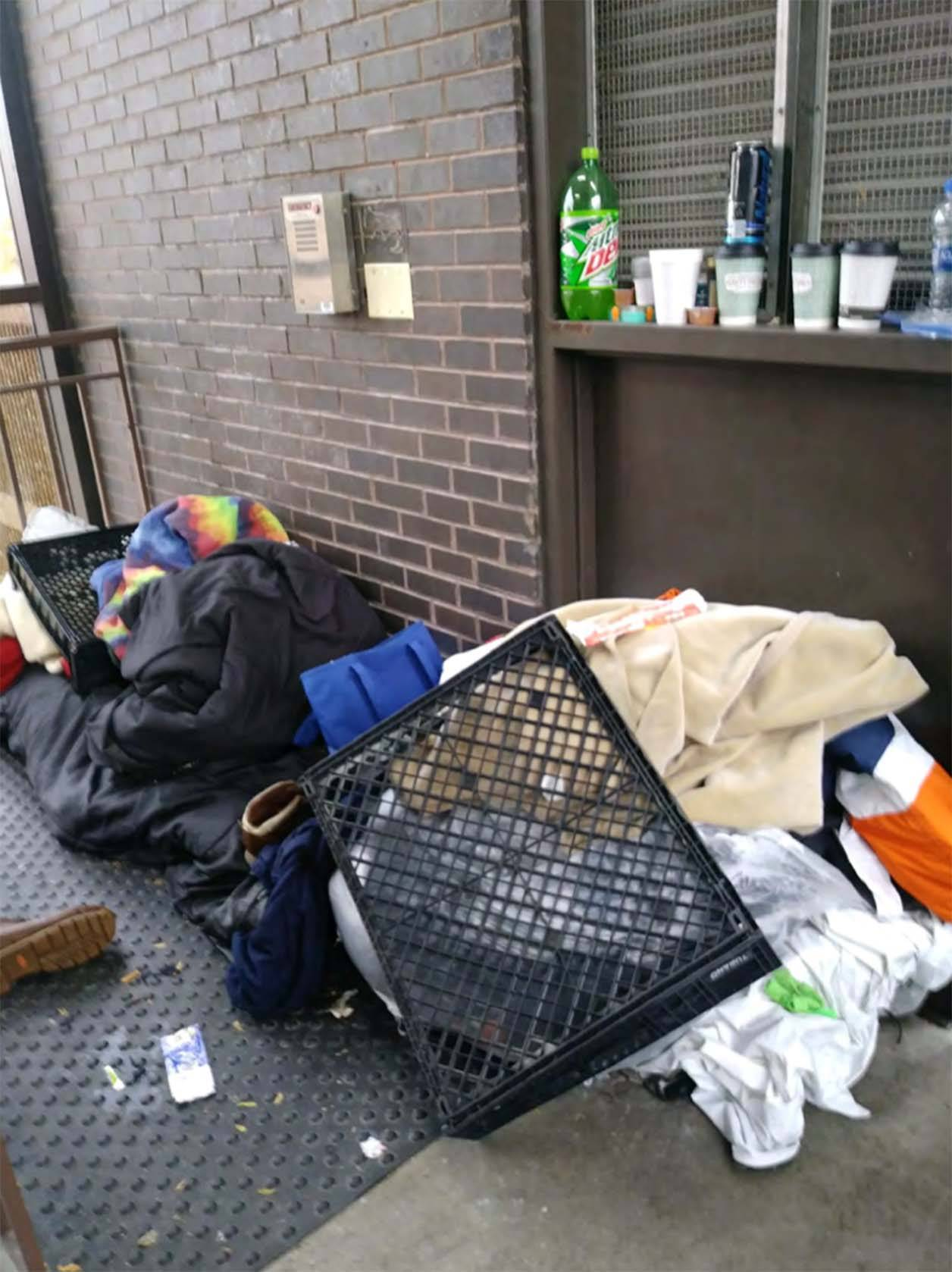 Homeless people increasingly have been leaving their belongings in public places in Elgin, including parking garage stairwells.