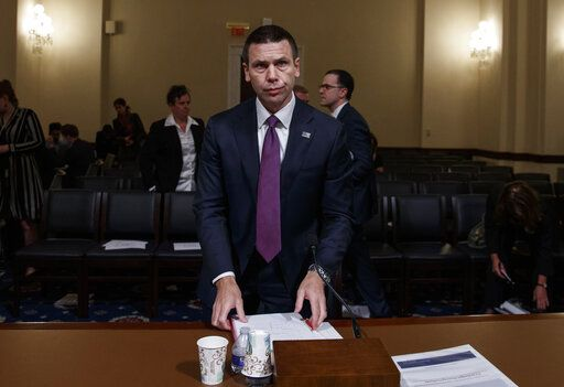Acting Secretary of Homeland Security Kevin McAleenan on Capitol Hill in Washington, Wednesday, May 22, 2019, prepares to leave after the House Homeland Security Committee on budget.