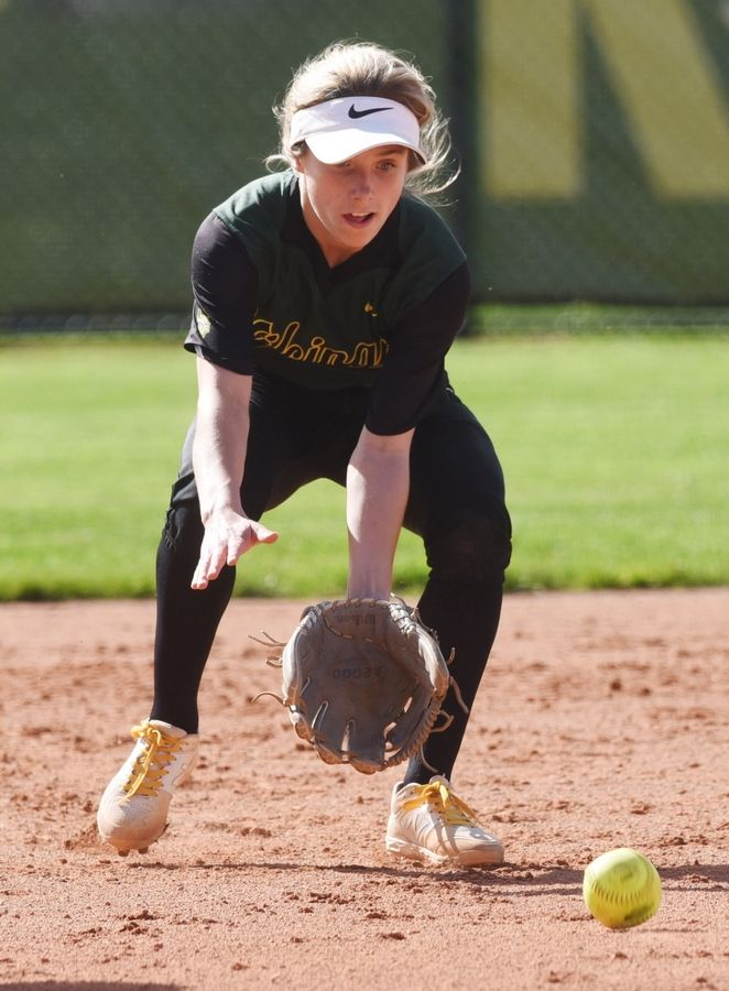Fremd shortstop Kalyn McCarthy fields a ground ball during Wednesday's regional semifinal softball game against Glenbard North.