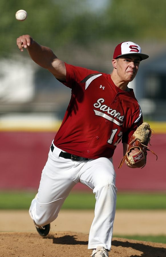 Schaumburg's Peter Kandefer (17) delivers a pitch Wednesday during the Class 4A Schaumburg baseball regional semifinals.