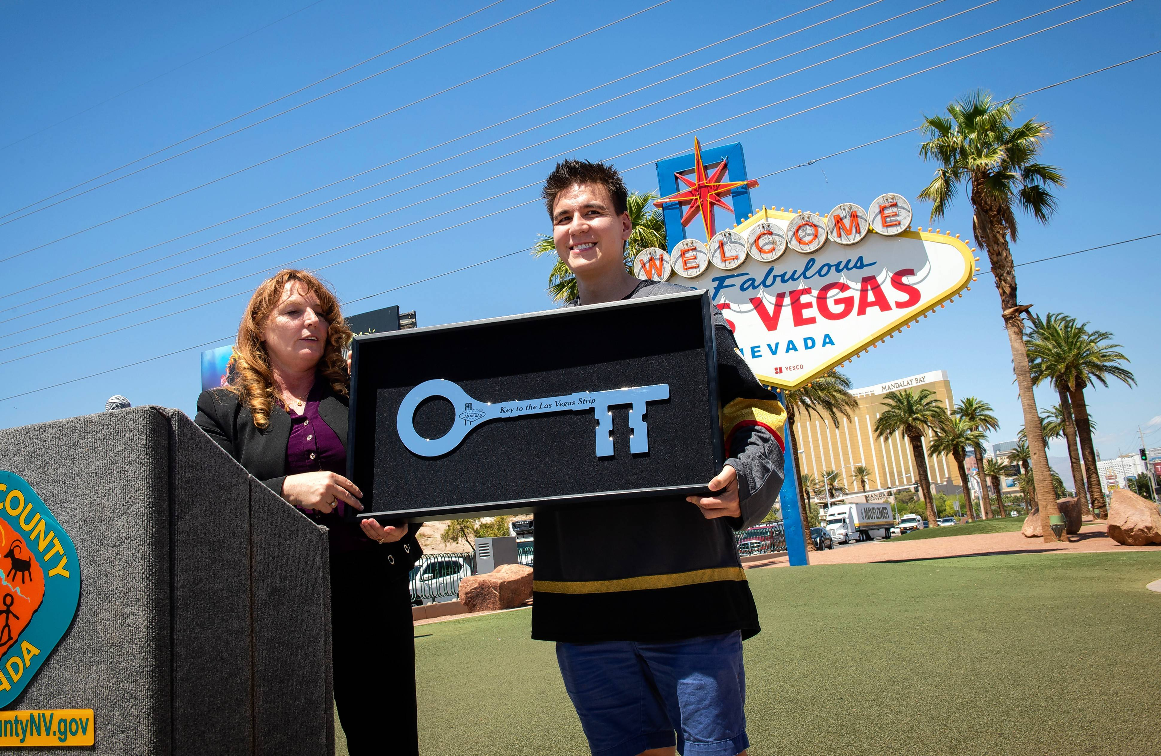 "Clark County Commission Chairman Marilyn Kirkpatrick presented ""Jeopardy!"" sensation James Holzhauer with a key to the Las Vegas Strip earlier this month."