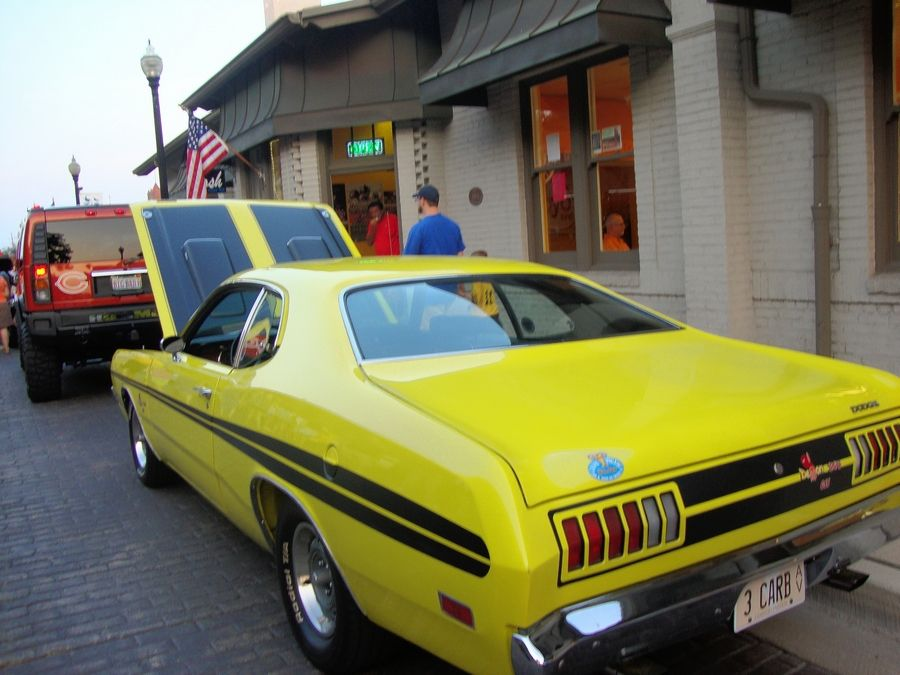 Vintage cars will park along Front Street in downtown Wheaton for the weekly show on Friday nights.