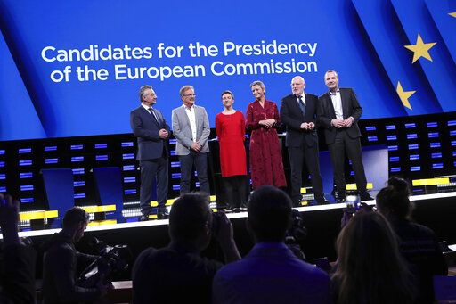 FILE - In this Wednesday, May 15, 2019 file photo, from left, Czech Republic's Jan Zahradil, Spain's Nico Cue, Germany's Ska Keller, Denmark's Margrethe Vestager, Netherland's Frans Timmermans and Germany's Manfred Weber pose on stage prior to a debate of the candidates to the presidency of the Commission at the European Parliament in Brussels. The European Parliament elections have never been so hotly anticipated or contested, with many predicting that this year's ballot will mark a coming-of-age moment for the euroskeptic far-right movement. The elections start Thursday May 23, 2019 and run through Sunday May 26 and are taking place in all of the European Union's 28 nations.