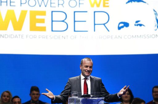 FILE - In this Saturday, May 18, 2019 file photo, Germany's Manfred Weber of the European People's Party addresses the audience at the Croatian Democratic Party assembly in Zagreb, Croatia. The European Parliament elections have never been so hotly anticipated or contested, with many predicting that this year's ballot will mark a coming-of-age moment for the euroskeptic far-right movement. The elections start Thursday May 23, 2019 and run through Sunday May 26 and are taking place in all of the European Union's 28 nations.