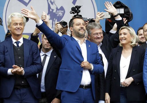 FILE - In this Saturday May 18, 2019 file photo, from left, Geert Wilders, leader of the Dutch Party for Freedom, Italy's Matteo Salvini, Jorg Meuthen, leader of the Alternative For Germany party, and Marine Le Pen, attend a rally ahead of the May 23-26 European Parliamentary elections, in Milan, Italy. The European Parliament elections have never been so hotly anticipated or contested, with many predicting that this year's ballot will mark a coming-of-age moment for the euroskeptic far-right movement. The elections start Thursday May 23, 2019 and run through Sunday May 26 and are taking place in all of the European Union's 28 nations.