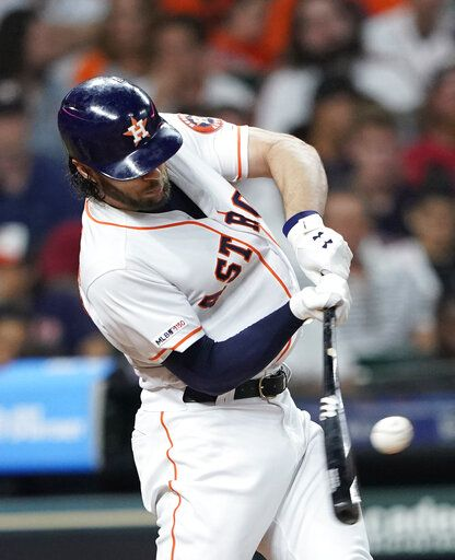 Houston Astros' Jake Marisnick grounds into a triple play during the third inning of the team's baseball game against the Chicago White Sox on Wednesday, May 22, 2019, in Houston.