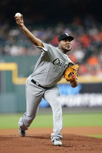 Chicago White Sox starting pitcher Ivan Nova throws during the first inning of the team's baseball game against the Houston Astros Wednesday, May 22, 2019, in Houston.