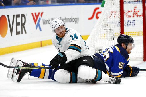 San Jose Sharks center Gustav Nyquist (14), of Sweden, gets off of St. Louis Blues defenseman Colton Parayko (55) during the second period in Game 6 of the NHL hockey Stanley Cup Western Conference final series Tuesday, May 21, 2019, in St. Louis.