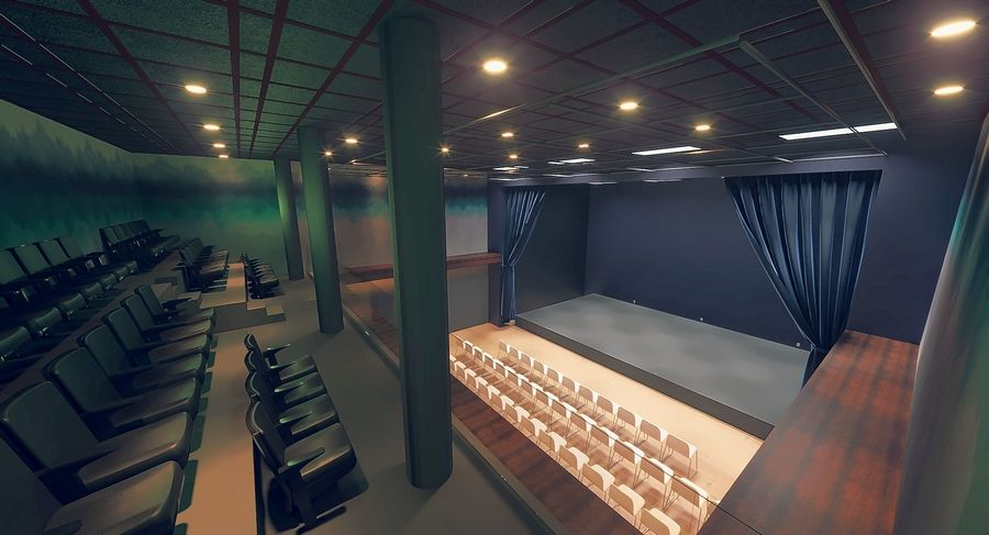 Aurora's Paramount School of the Arts includes a black box theater depicted here in a rendering by Vara Designs.