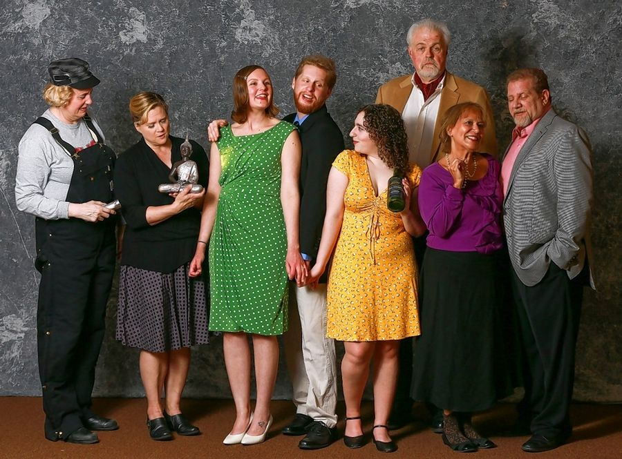 "The cast of ""Black Comedy,"" one of two short plays that make up ""A Night of One Acts,"" the final production of Kirk Players' 53rd season."