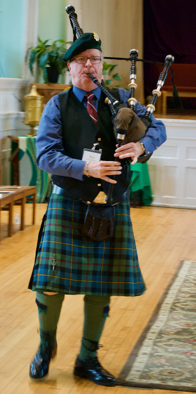 Piper Kevin Chapman playing his pipes in anticipation of playing at the D_Day ceremonies in Normandy, France this June 6th.Margaret Chapman Galambos