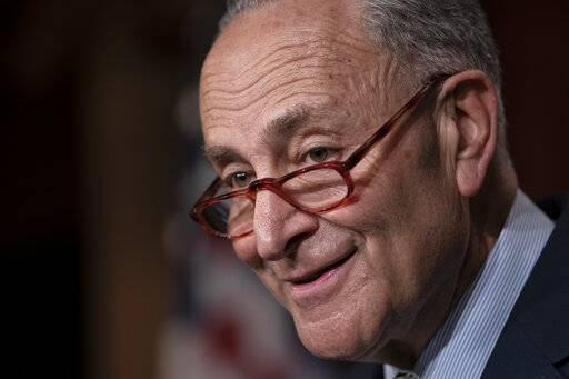 Senate Minority Leader Chuck Schumer, D-N.Y., talks to reporters after the Senate passed a $19 billion disaster aid bill to help a number of states and Puerto Rico recover after a series of hurricanes, floods and wildfires, at the Capitol in Washington, Thursday, May 23, 2019. Republican leaders agreed to Democrats' demand to toss out President Donald Trump's $4.5 billion request to address a record influx of Central American migrants who are fleeing violence in Guatemala, Honduras and elsewhere and coming to the United States. (AP Photo/J. Scott Applewhite)