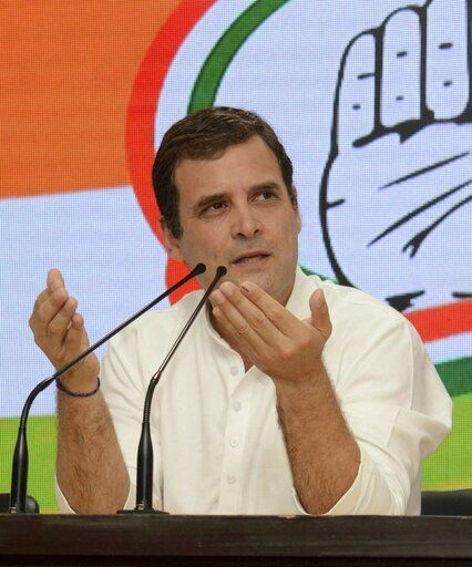 India's main opposition Congress party President Rahul Gandhi addresses a press conference at the party headquarters in New Delhi, India, Thursday, May 23, 2019. Gandhi has conceded his parliamentary seat to his rival from the Bharatiya Janata Party, which has claimed a decisive victory in India's general election.