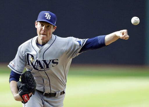 Tampa Bay Rays starting pitcher Ryan Yarbrough delivers in the first inning of the team's baseball game against the Cleveland Indians, Thursday, May 23, 2019, in Cleveland.